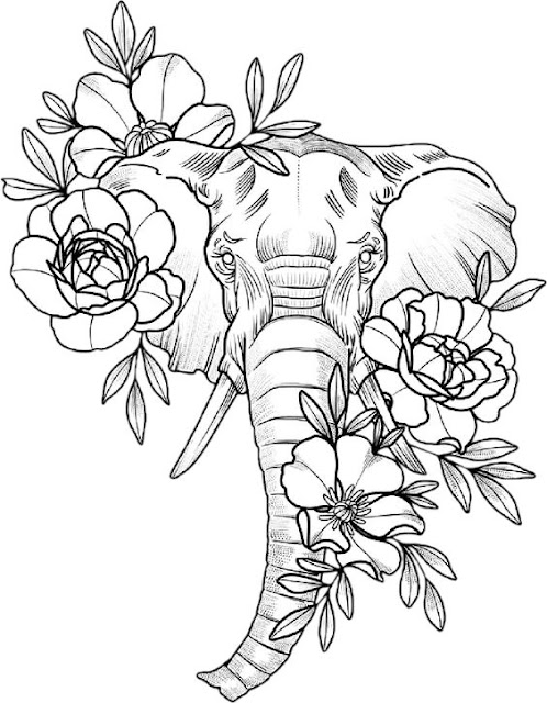 Elephant-with-Roses-Tattoo-Design