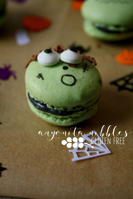 This worried little gluten free Frankenstein macaron was delicous! Anyonita Nibbles