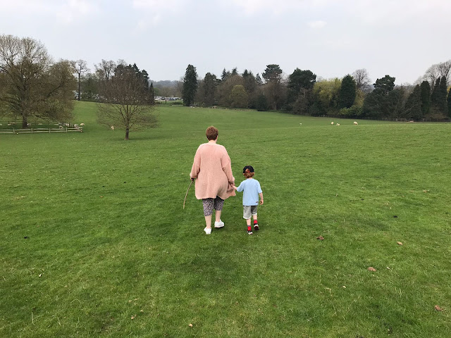 Mother and son walking through a field hand in hand whilst carrying sticks