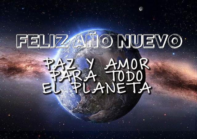 Feliz Año Nuevo con el planeta tierra