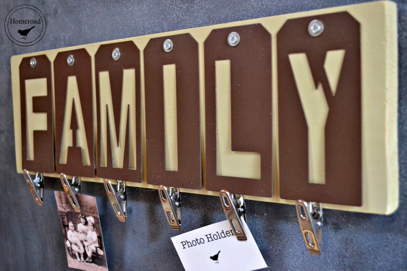 metal hang tag stenciled FAMILY photo display www.homeroad.net