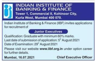 IIBF Recruitment 2021 10 Junior Executive Posts