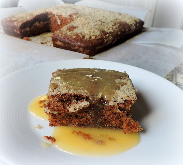 Ginger Crumb Cake with Butter Sauce