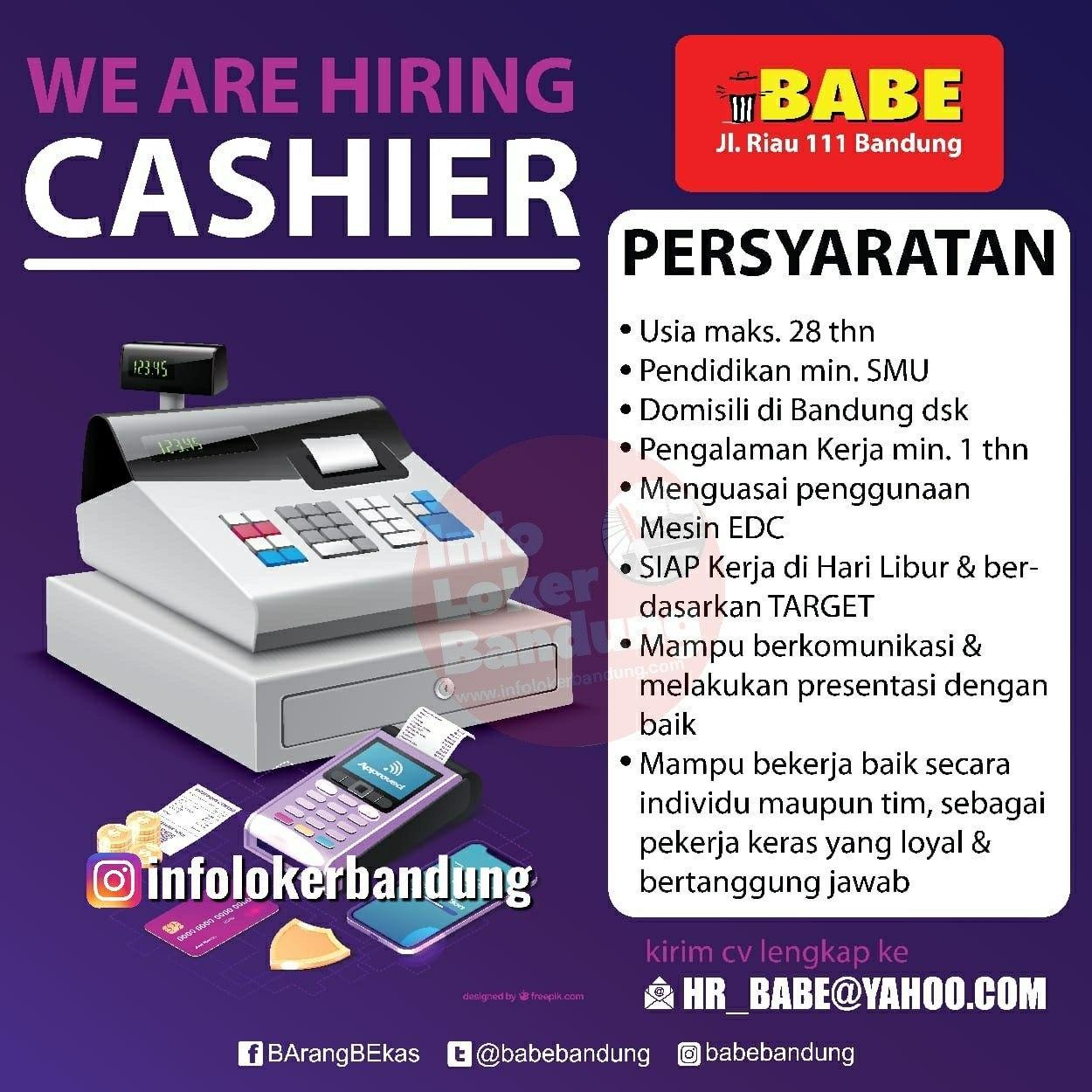 Lowongam Kerja Cashier Barang Bekas ( Babe ) Bandung Febrauari 2020