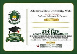 ADSU 5-12th Convocation Ceremony Programme of Events [POSTPONED]