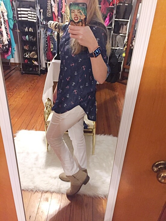 nautical button down shirt outfit of the day
