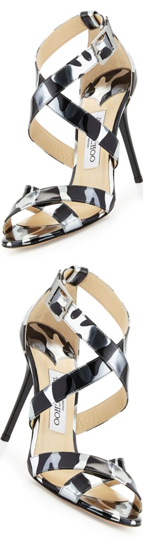 Jimmy Choo  Lottie Camo-Leopard-Print Sandal