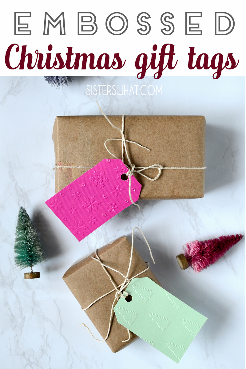 how to emboss christmas gift tags