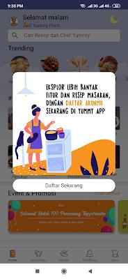 Aplikasi Yummy Android
