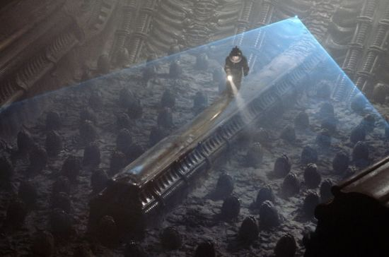 Astronaut shines a torch onto the egg field in the derelict ship in Alien