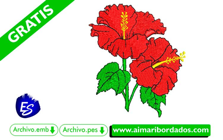 Flor roja para bordar a máquina