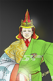 Bugaku Seigaiha : 上月まこと画、舞楽「青海波」のタイトルイラスト