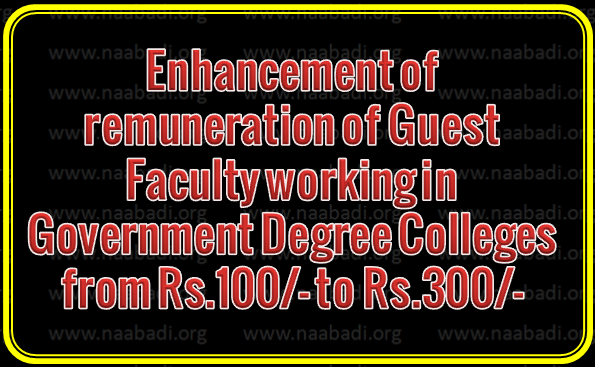 TS GO Rt No 54 - Enhancement of remuneration of Guest Faculty working in Government Degree Colleges
