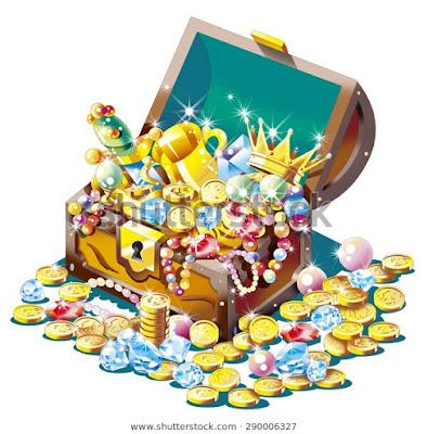 宝箱、海賊、財宝イラスト、ストックイラスト 、川野