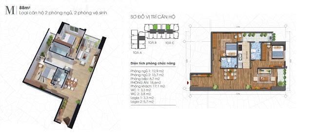 Thiết kế căn 88m - 2 phòng ngủ Ecolife Tây Hồ