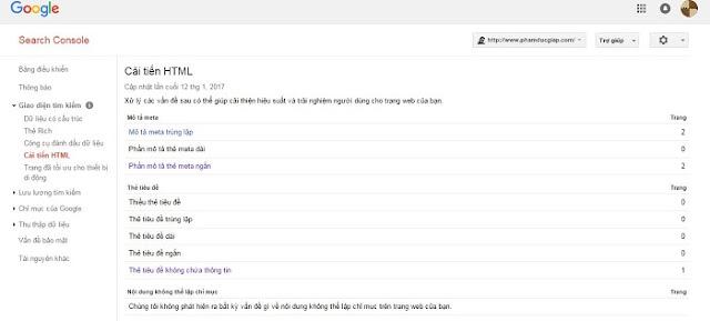 Giao diện tìm kiếm trong webmaster tools