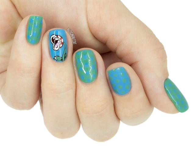 mario piranha plant nail art