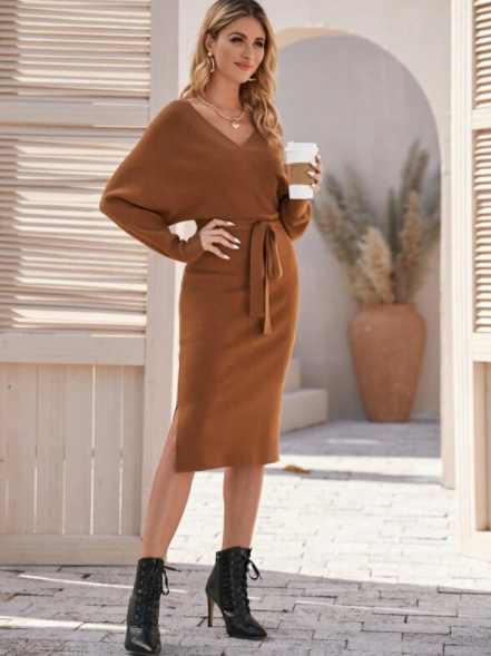 Brown wrap dress