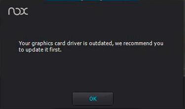 Nox player your graphics card driver is outdated hatası çözümü