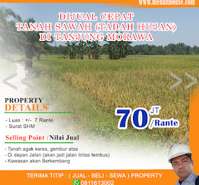 dijual tanah sawah tadah hujan padat di tanjung morawa <del>Rp 100 Juta/Rante </del> <price>Rp. 70Juta /Rante (nego) </price> <code>tanahsawahditjmorawa</code>