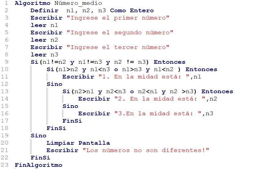 Determinar el número medio del conjunto de los tres números en PSeInt