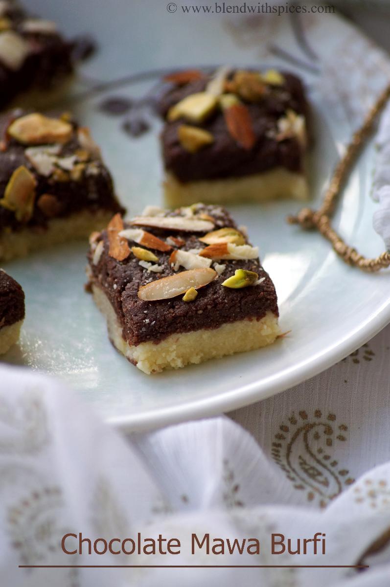 chocolate mawa burfi recipe, how to make chocolate burfi, diwali mithai recipes