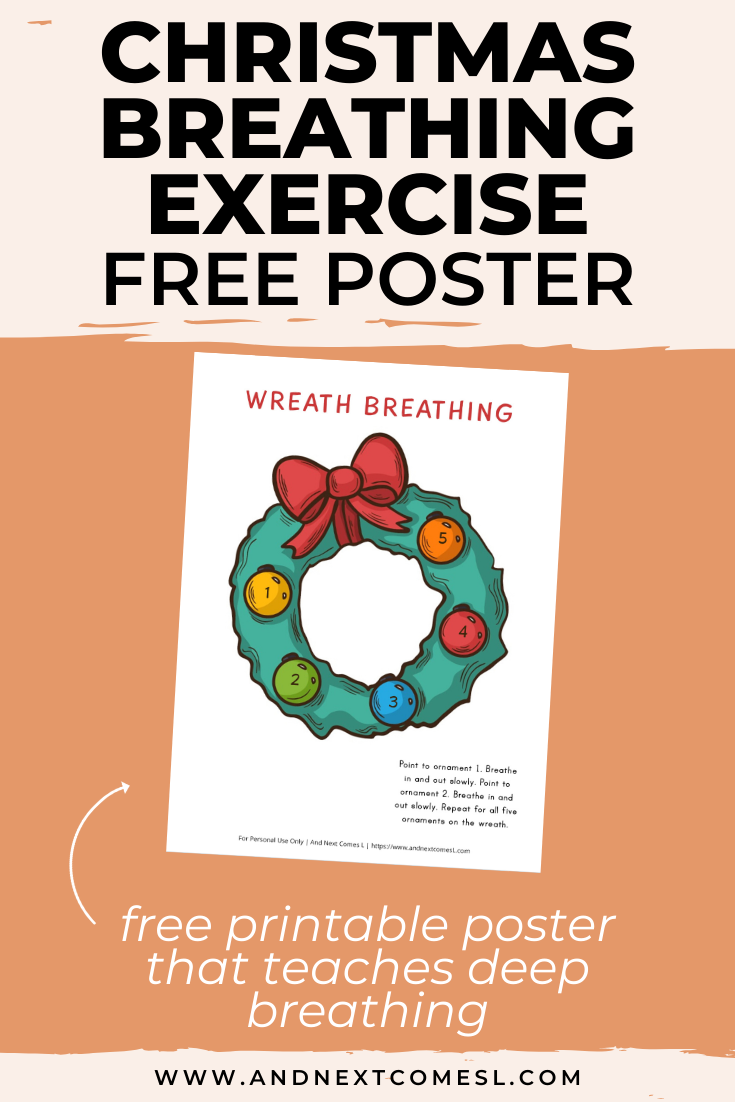 Free deep breathing printable for kids inspired by Christmas