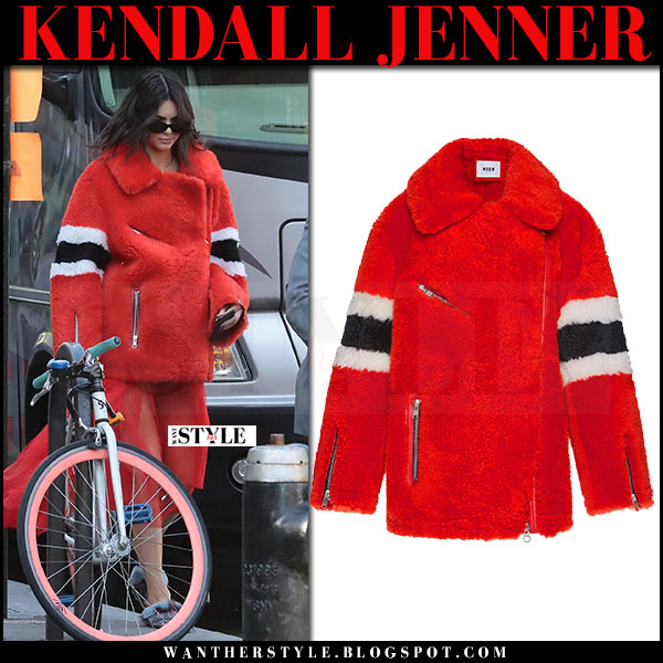 Kendall Jenner in red fur jacket msgm what she wore may 2017