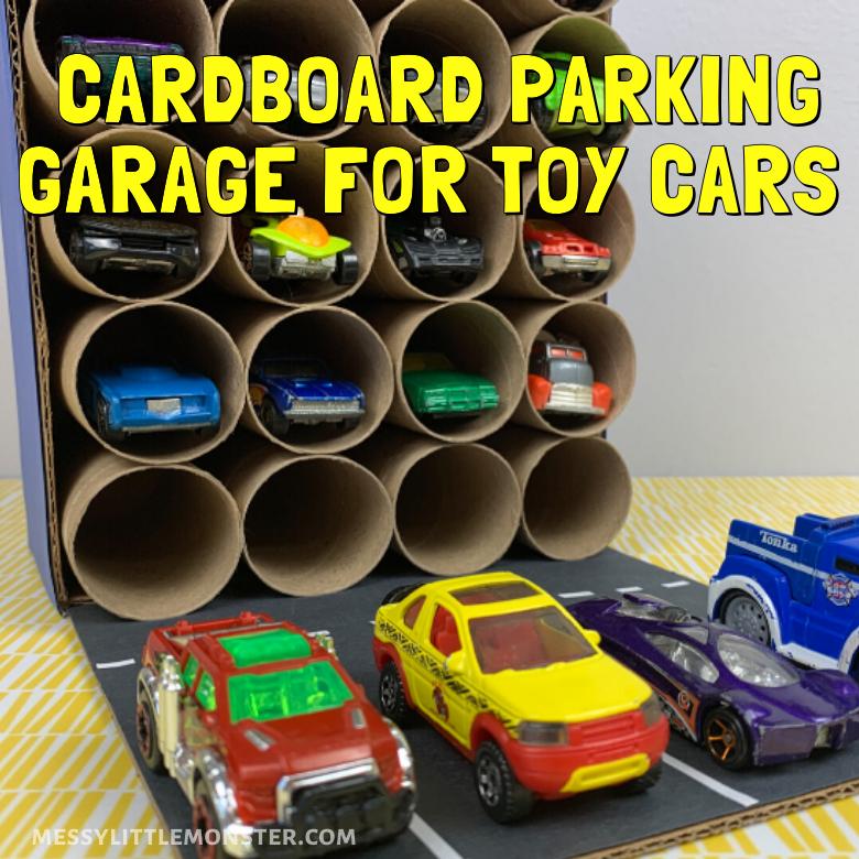 Cardboard parking garage craft for kids. DIY toy car storage and car activity.