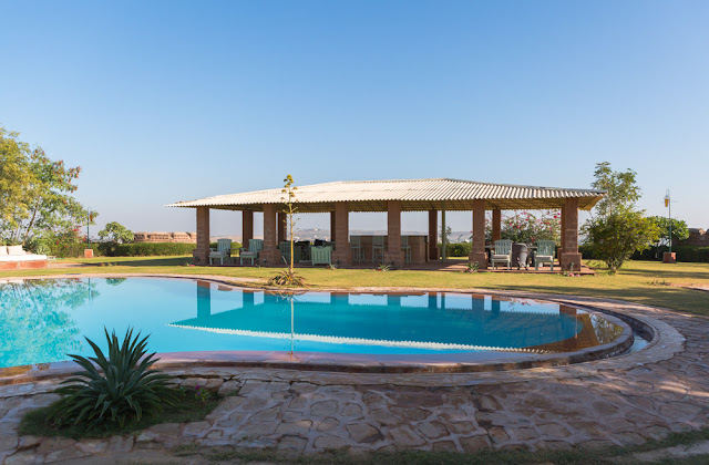 Swimming Pool at Reggie's Camel Camp Jodhpur Desert Safari in Rajasthan India