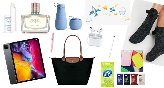 Collage Image with selection of SweetieSal's Essential Short Haul Flight Items