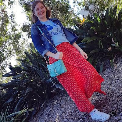 awayfromblue Instagram denim jacket printed maxi skirt converse spring band tee outfit