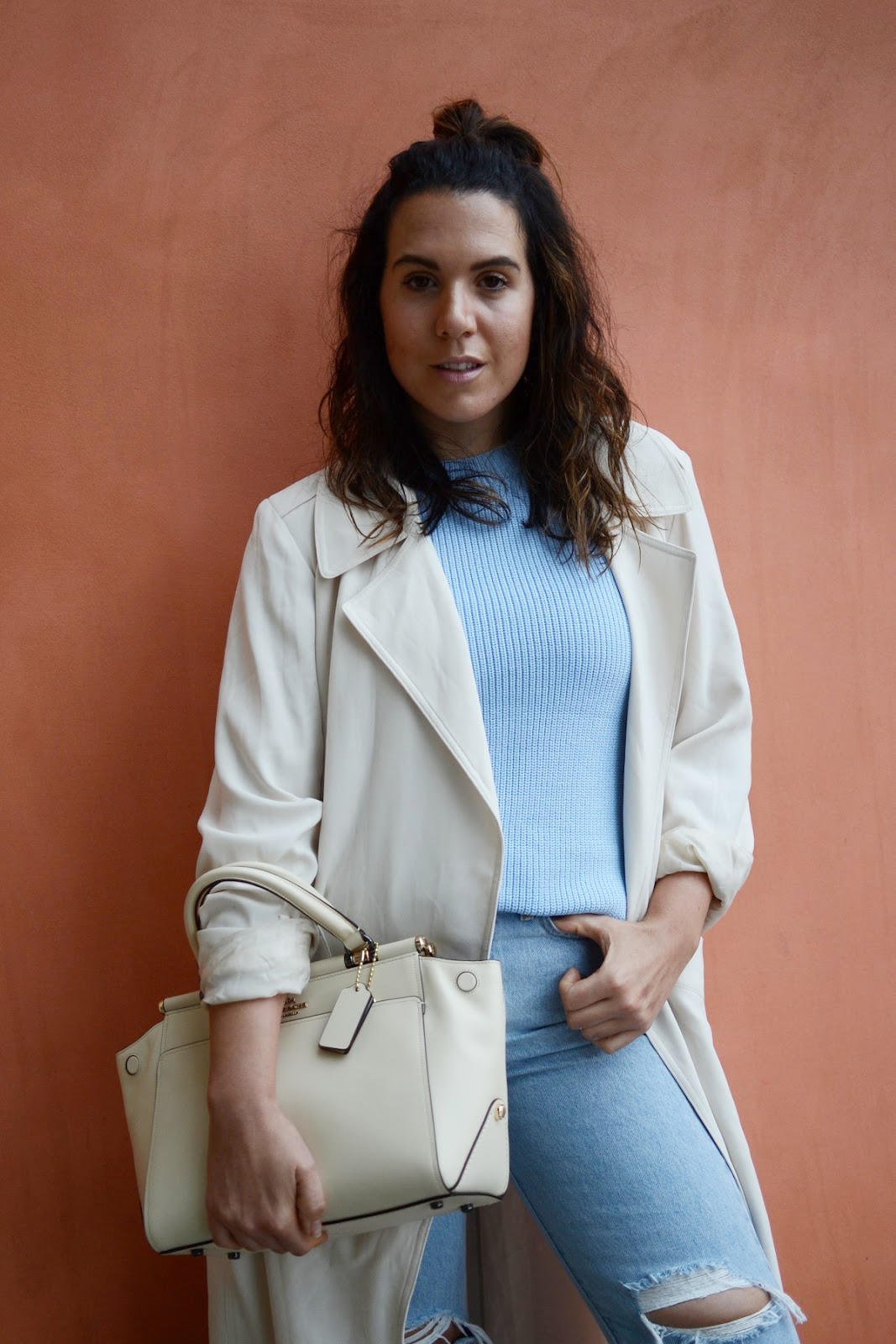 Coach Selena bag cream bag outfit vancouver fashion blogger Aritzia Kahlo jacket levi's wedgie jeans outfit aleesha harris