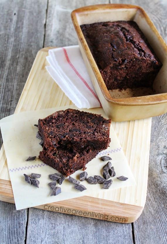 gluten free chocolate zucchini bread in a stoneware loaf pan
