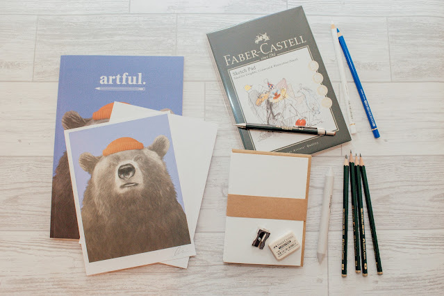 A flatlay of art stationery
