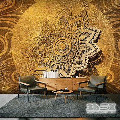 artistic 3D art wallpaper design for classic living rooms