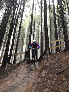 woman on mountain bike in forest