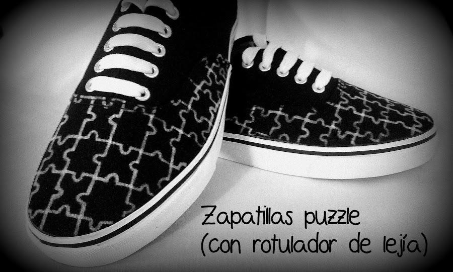 zapatillas puzzle lejía pintar