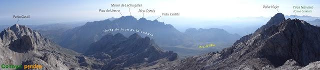 Ruta circular a los Tiros Navarro, Picos de Santa Ana y Coteras Rojas, ascendiendo por el Canal del Vidrio y regresando hasta Áliva por la Horcadina de Cobarrobres en Picos de Europa.