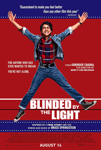 "Movie poster for Warner Bros. and New Line Cinema's 2019 dramedy ""Blinded by the Light,"" starring Viveik Kalra, Kulvinder Ghir, Meera Ganatra, Aaron Phagura, and Nell Williams, inspired by Bruce Springsteen"