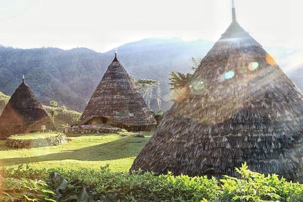 Pemukiman Desa Adat Waerebo di pagi hari