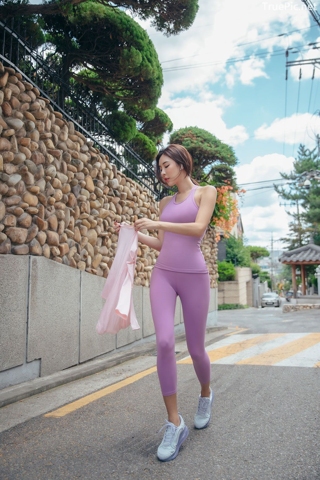 Korean model and fashion - Park Da Hyun - Plum Violet Fitness Set - Picture 7