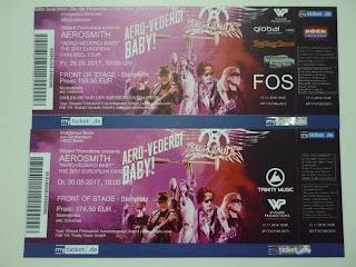 poza cu biletele la concertele Aerosmith din Germania din mai 2017