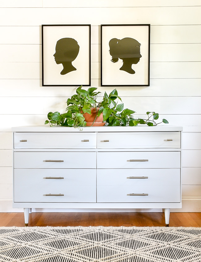 Light gray painted mid century modern dresser