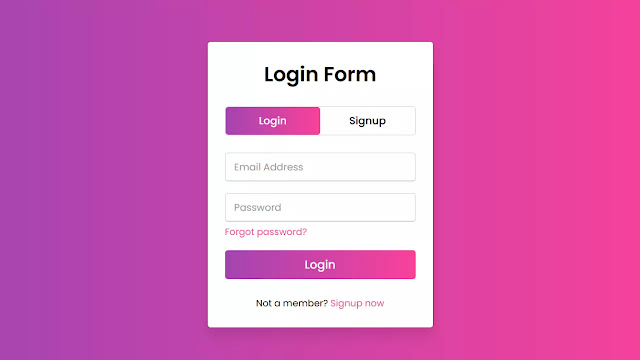 Animated Login & Signup Form Design using HTML CSS & JavaScript