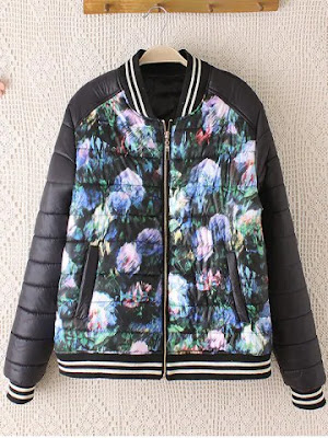 Striped Hem Floral Print Plus Size Quilted Bomber Jacket - Black - 2xl