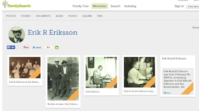 FamilySearch Memories page