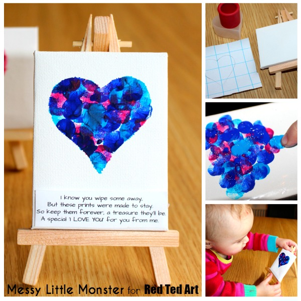 Fingerprint heart poem keepsake craft for babies, toddlers and preschoolers. An easy Mothers Day or Valentines Day activity with free printable poem. Use a mini canvas easel or make greeting cards.