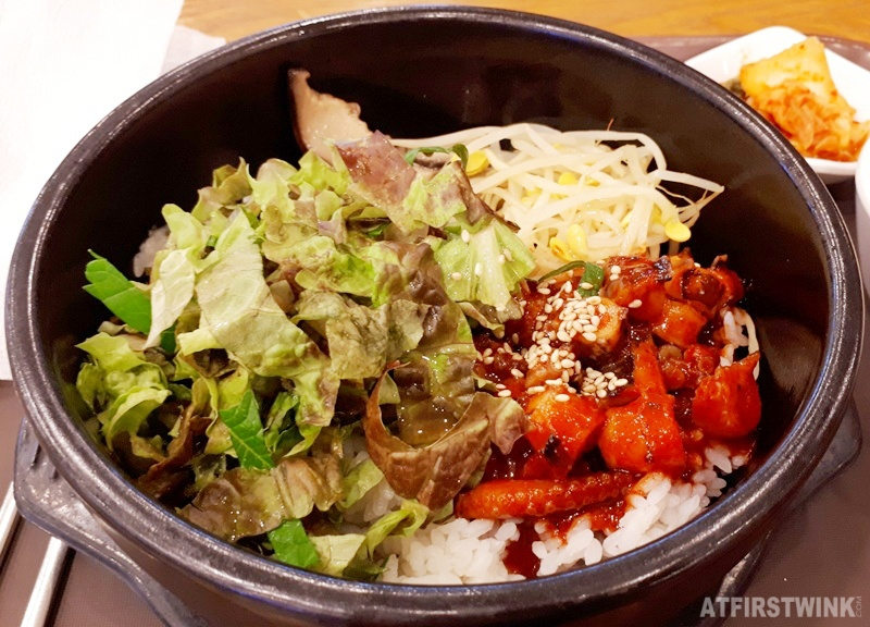 Hot stone bibimbap with spicy octopus food court lotte mart seoul station