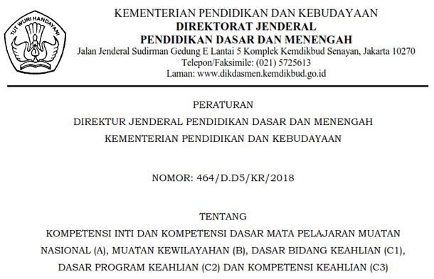 keterangan dari isi berkas Perdirjen Dikdasmen No KI dan KD (Kompetensi Inti dan Kompetensi Dasar) Mata Pelajaran SMK (Perdirjen Dikdasmen No. 464/D.D5/KR/2018)